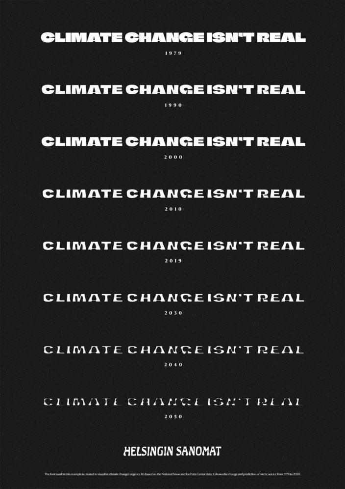 Климатический шрифт. Как сделать глобальное потепление наглядным